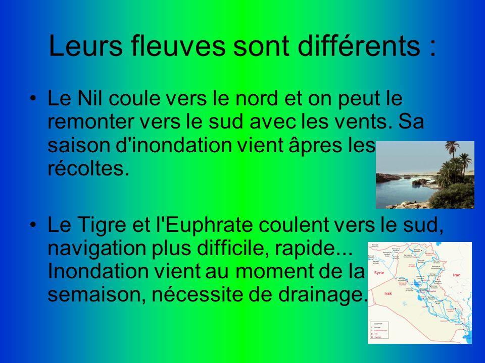 Leurs fleuves sont différents : Le Nil coule vers le nord et on peut le remonter vers le sud avec les vents. Sa saison d'inondation vient âpres les ré