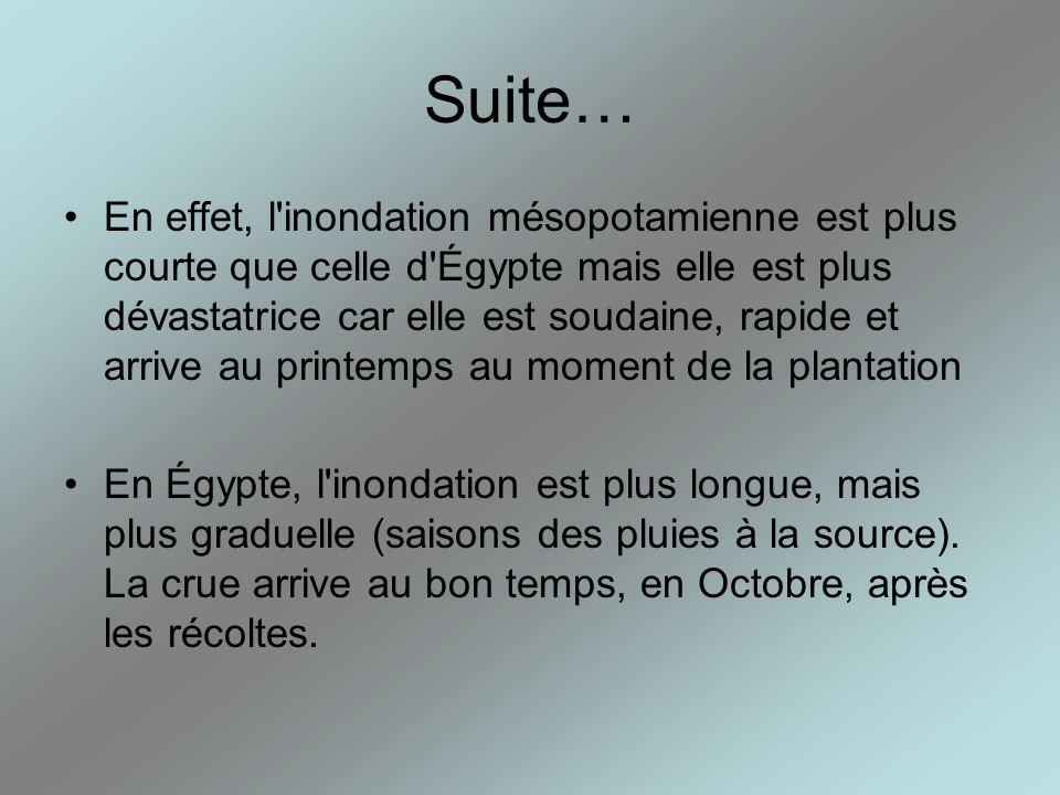 Suite… En effet, l'inondation mésopotamienne est plus courte que celle d'Égypte mais elle est plus dévastatrice car elle est soudaine, rapide et arriv