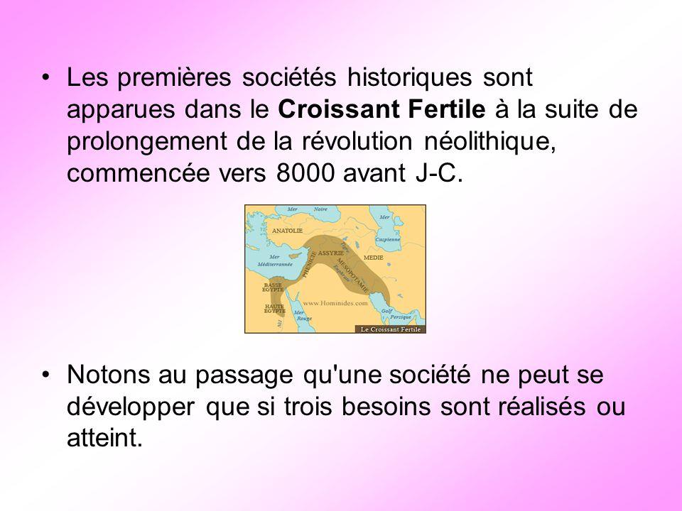 Les premières sociétés historiques sont apparues dans le Croissant Fertile à la suite de prolongement de la révolution néolithique, commencée vers 800