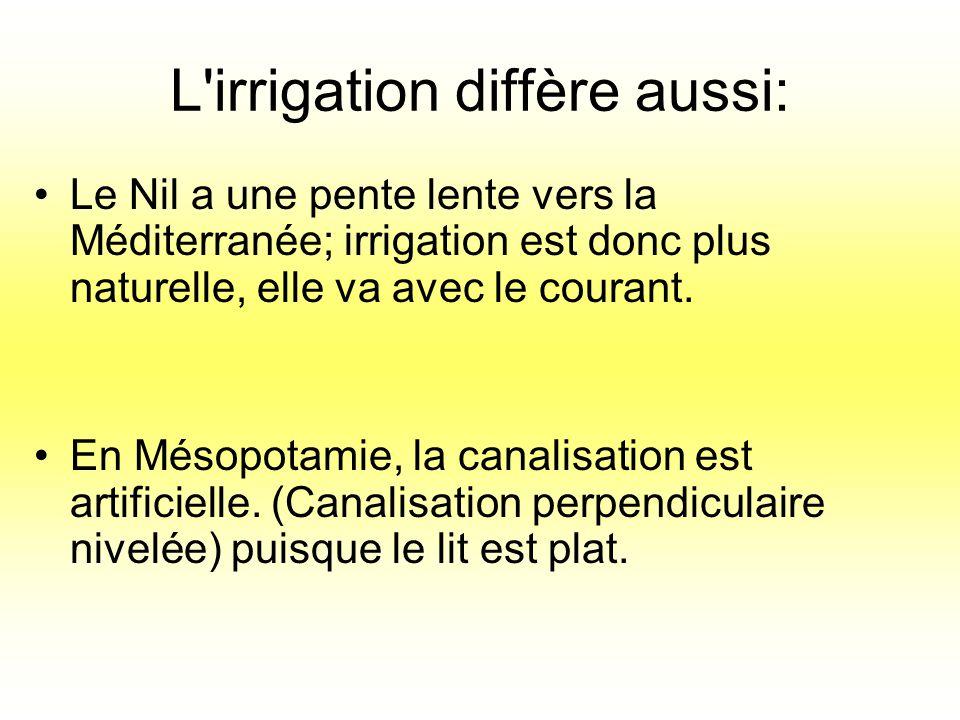 L'irrigation diffère aussi: Le Nil a une pente lente vers la Méditerranée; irrigation est donc plus naturelle, elle va avec le courant. En Mésopotamie