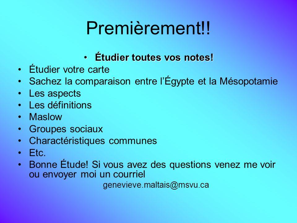 Premièrement!! Étudier toutes vos notes!Étudier toutes vos notes! Étudier votre carte Sachez la comparaison entre lÉgypte et la Mésopotamie Les aspect