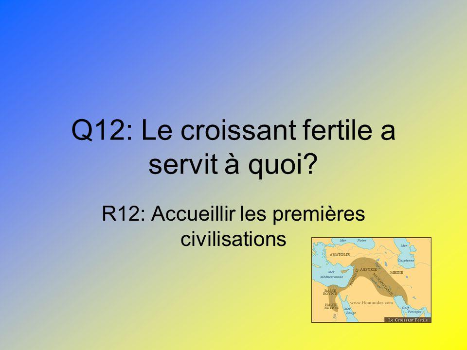 Q12: Le croissant fertile a servit à quoi? R12: Accueillir les premières civilisations