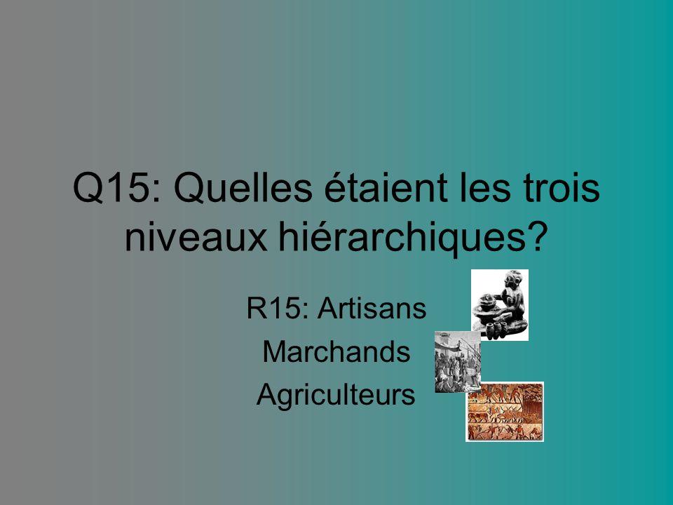 Q15: Quelles étaient les trois niveaux hiérarchiques? R15: Artisans Marchands Agriculteurs