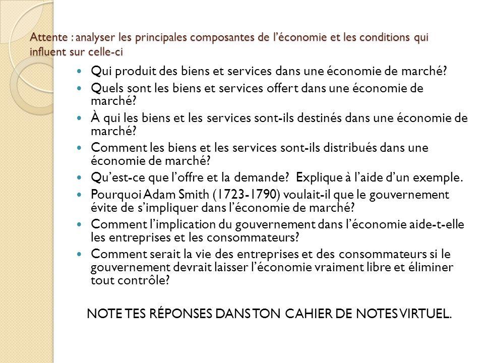 Attente : analyser les principales composantes de léconomie et les conditions qui influent sur celle-ci Qui produit des biens et services dans une éco
