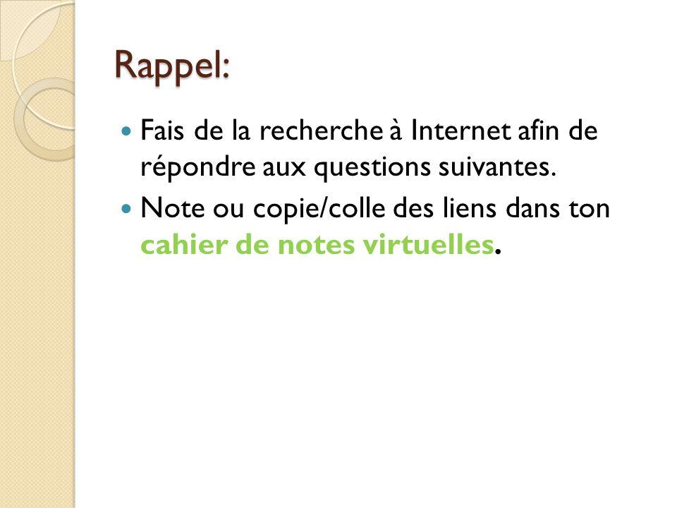 Rappel: Fais de la recherche à Internet afin de répondre aux questions suivantes.