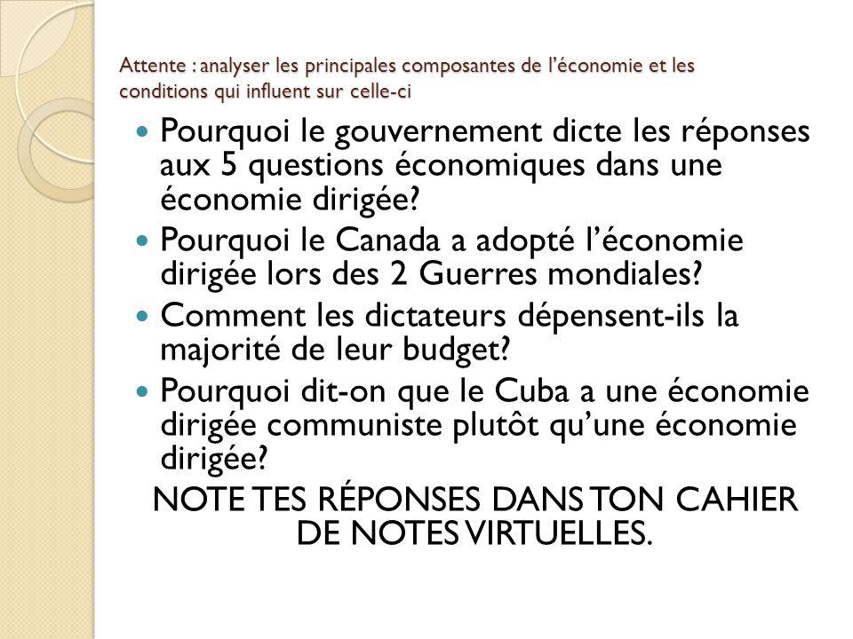 Attente : analyser les principales composantes de léconomie et les conditions qui influent sur celle-ci Pourquoi le gouvernement dicte les réponses aux 5 questions économiques dans une économie dirigée.