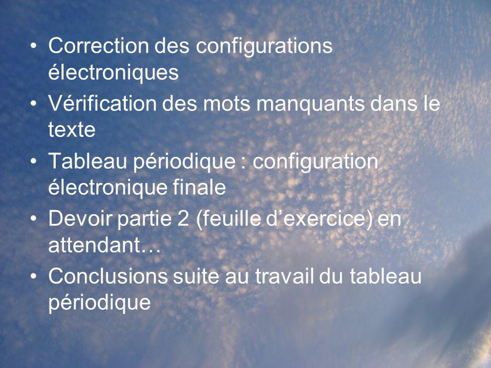 Correction des configurations électroniques Vérification des mots manquants dans le texte Tableau périodique : configuration électronique finale Devoi