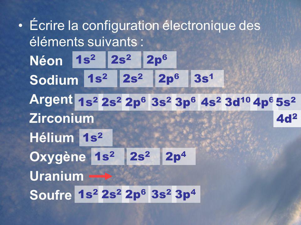 Écrire la configuration électronique des éléments suivants : Néon Sodium Argent Zirconium Hélium Oxygène Uranium Soufre 1s 2 2s 2 2p 6 1s 2 2s 2 2p 6