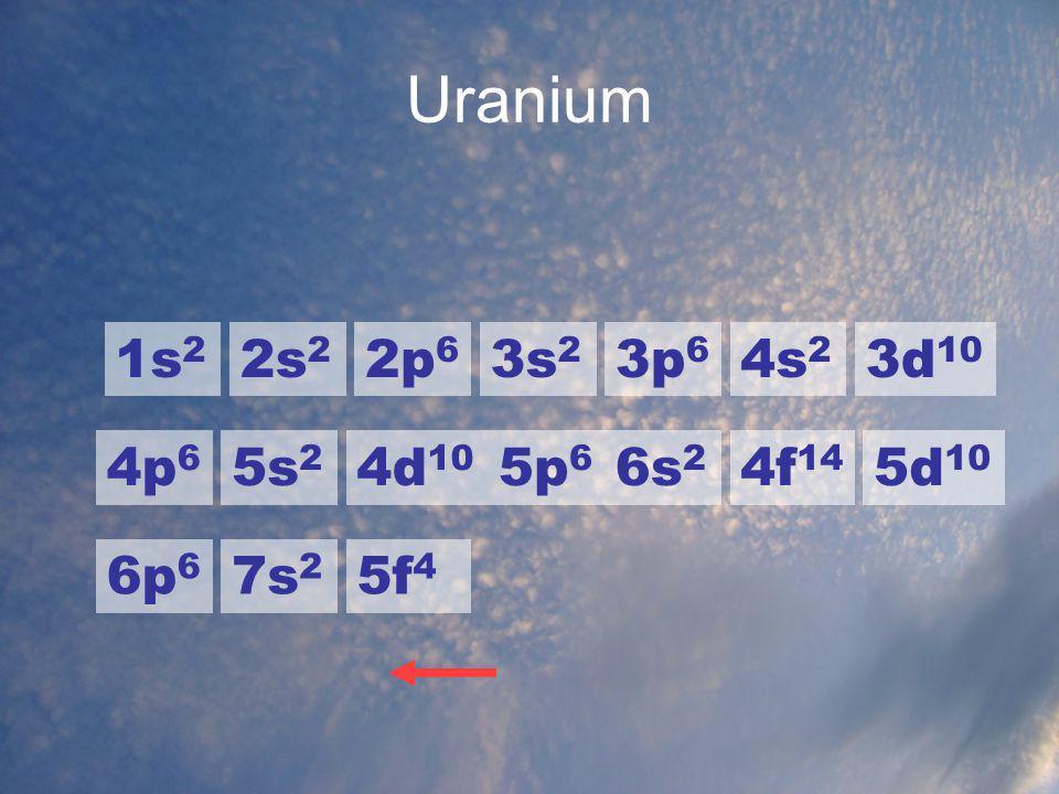 Uranium 1s 2 2s 2 2p 6 3s 2 3p 6 4s 2 3d 10 4p 6 5s 2 4d 10 5p 6 6s 2 4f 14 5d 10 6p 6 7s 2 5f 4