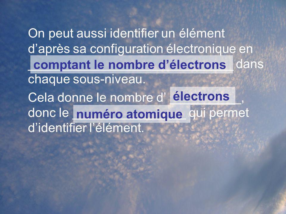 On peut aussi identifier un élément daprès sa configuration électronique en _____________________________ dans chaque sous-niveau. Cela donne le nombr