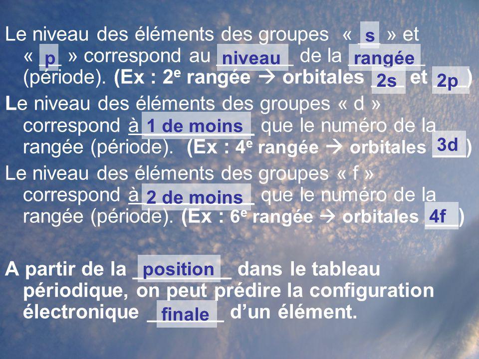 Le niveau des éléments des groupes « __ » et « __ » correspond au _______ de la _______ (période). (Ex : 2 e rangée orbitales ___ et ___) Le niveau de