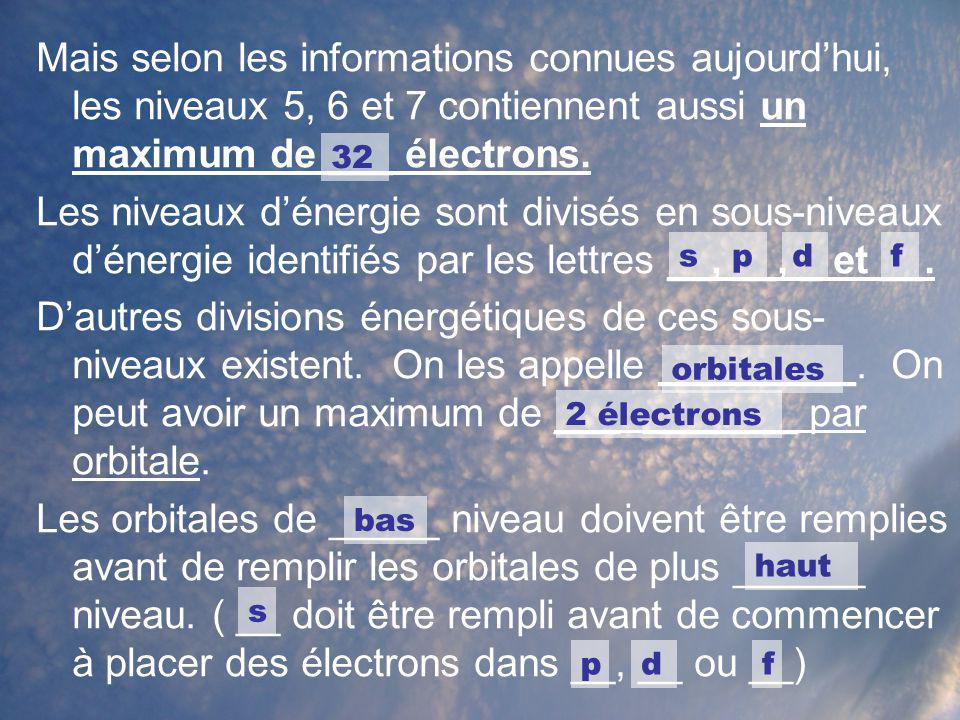 Mais selon les informations connues aujourdhui, les niveaux 5, 6 et 7 contiennent aussi un maximum de ___ électrons. Les niveaux dénergie sont divisés