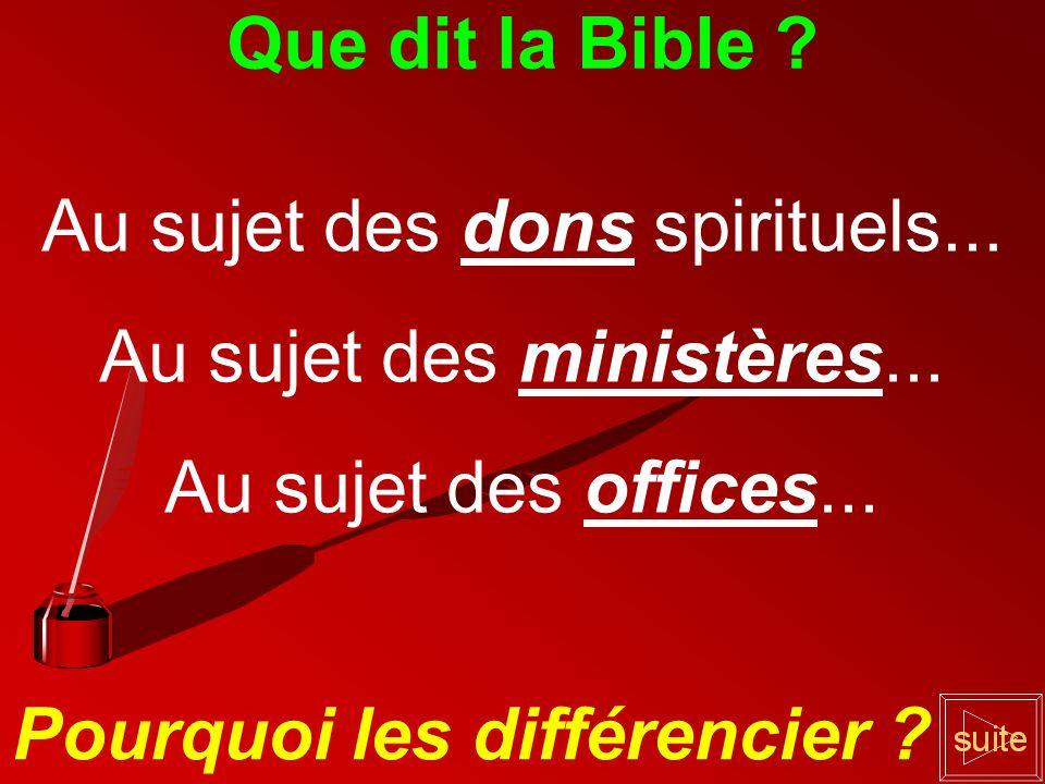 Que dit la Bible .Au sujet des dons spirituels...