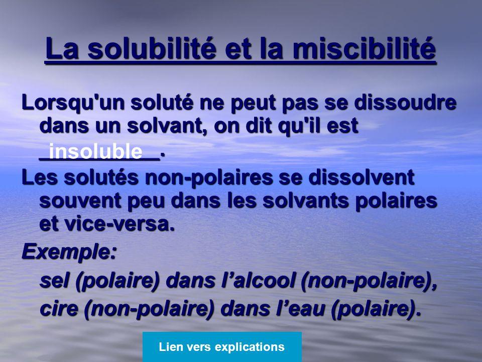 La solubilité et la miscibilité Lorsqu'un soluté ne peut pas se dissoudre dans un solvant, on dit qu'il est __________. Les solutés non-polaires se di