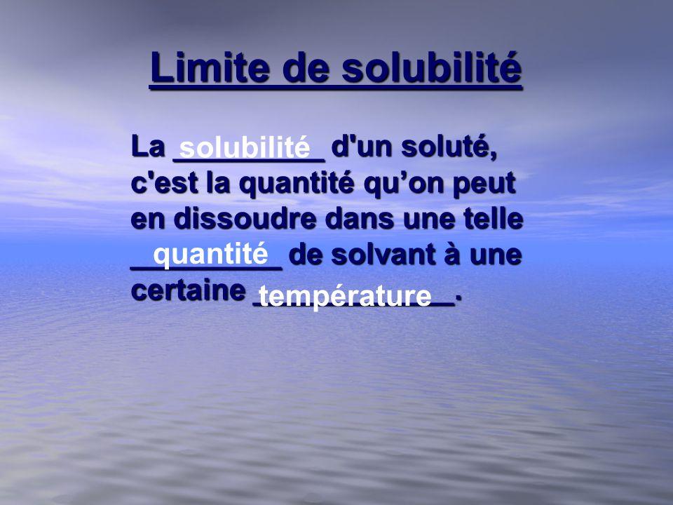 Limite de solubilité La _________ d'un soluté, c'est la quantité quon peut en dissoudre dans une telle _________ de solvant à une certaine ___________