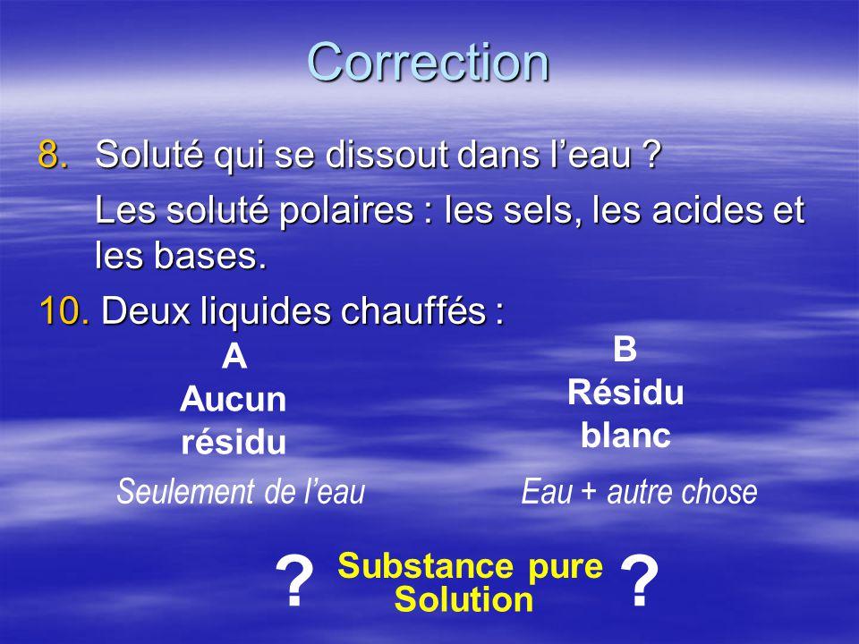 Correction 8.Soluté qui se dissout dans leau ? Les soluté polaires : les sels, les acides et les bases. 10. Deux liquides chauffés : A Aucun résidu B
