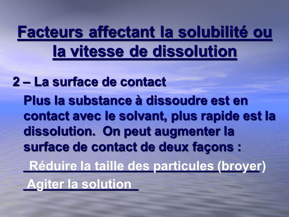 Facteurs affectant la solubilité ou la vitesse de dissolution 2 – La surface de contact Plus la substance à dissoudre est en contact avec le solvant,