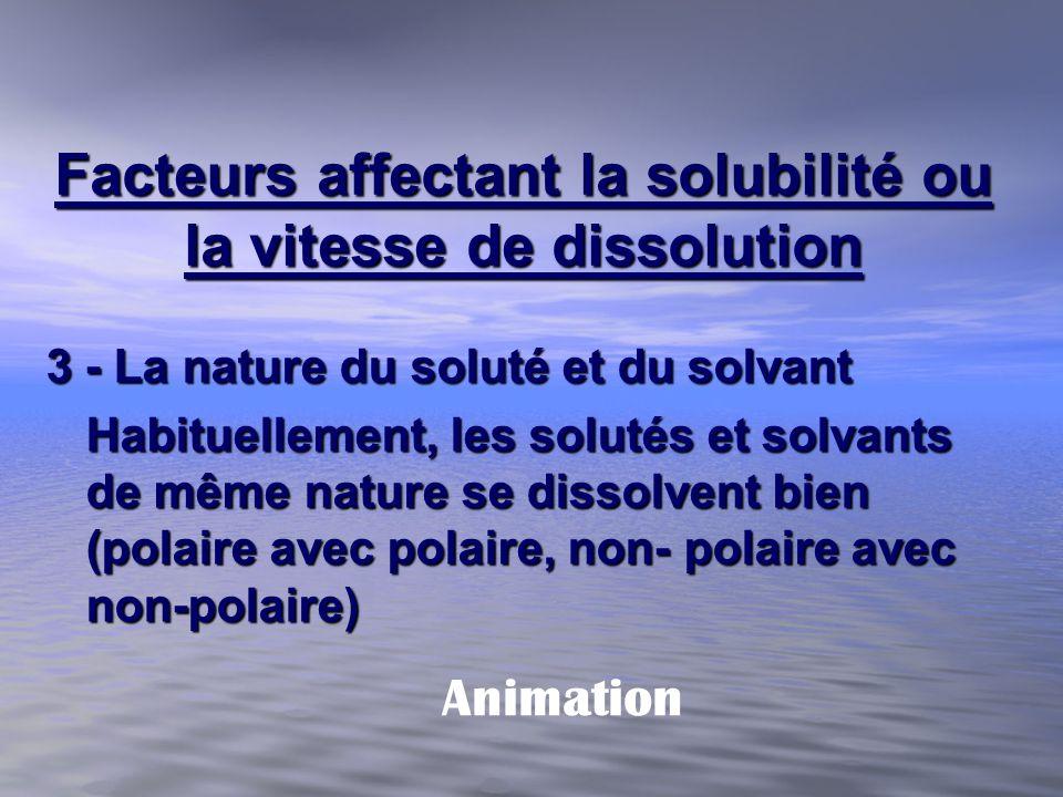 Facteurs affectant la solubilité ou la vitesse de dissolution 3 - La nature du soluté et du solvant Habituellement, les solutés et solvants de même na