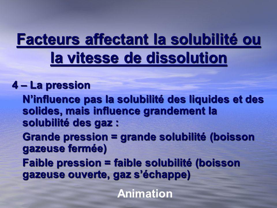 Facteurs affectant la solubilité ou la vitesse de dissolution 4 – La pression Ninfluence pas la solubilité des liquides et des solides, mais influence