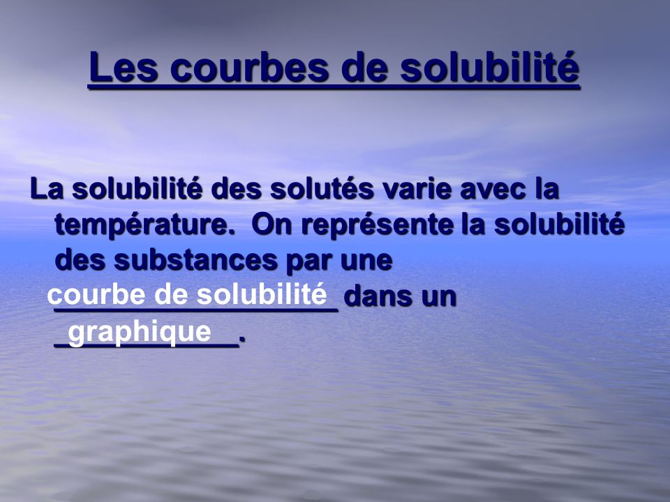 Les courbes de solubilité La solubilité des solutés varie avec la température. On représente la solubilité des substances par une _________________ da
