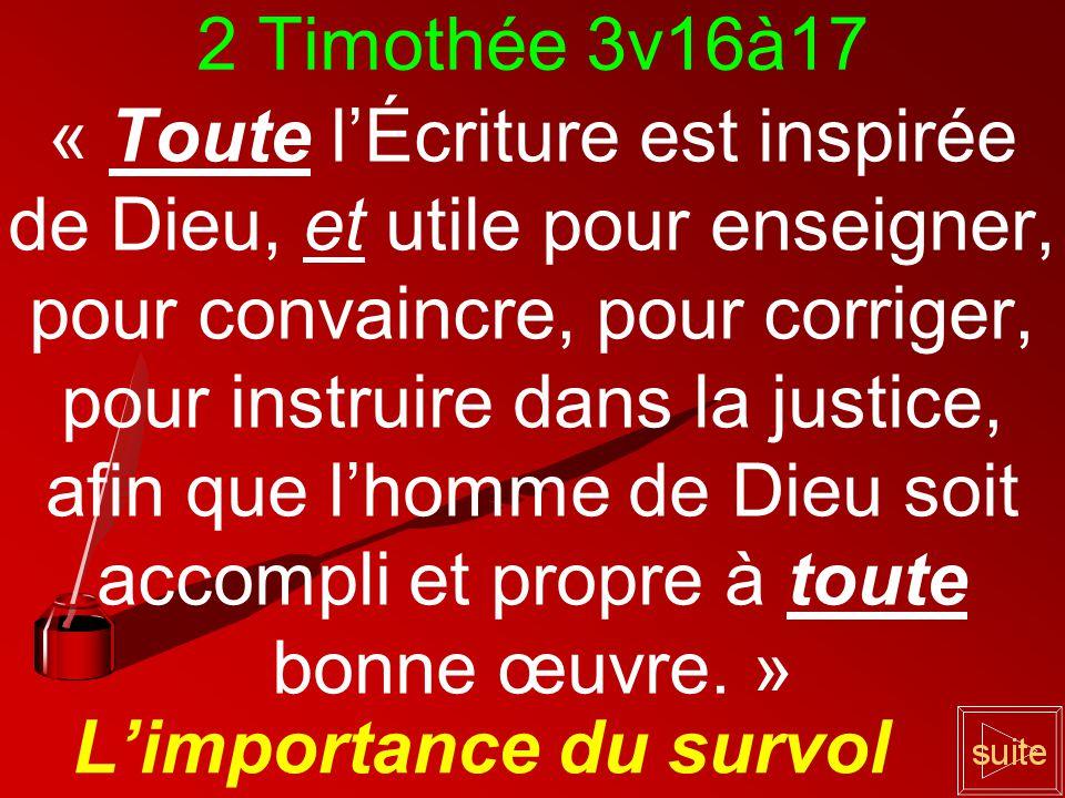 2 Timothée 3v16à17 « Toute lÉcriture est inspirée de Dieu, et utile pour enseigner, pour convaincre, pour corriger, pour instruire dans la justice, afin que lhomme de Dieu soit accompli et propre à toute bonne œuvre.