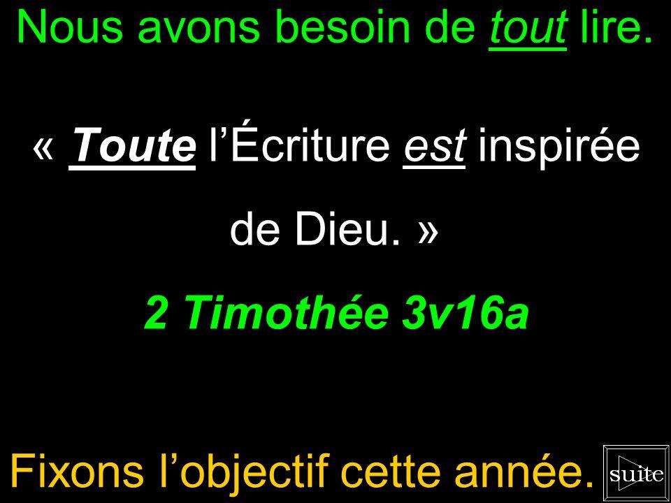 2 Timothée 3v16à17 « Toute lÉcriture est inspirée de Dieu, et utile pour enseigner, pour convaincre, pour corriger, pour instruire dans la justice, af