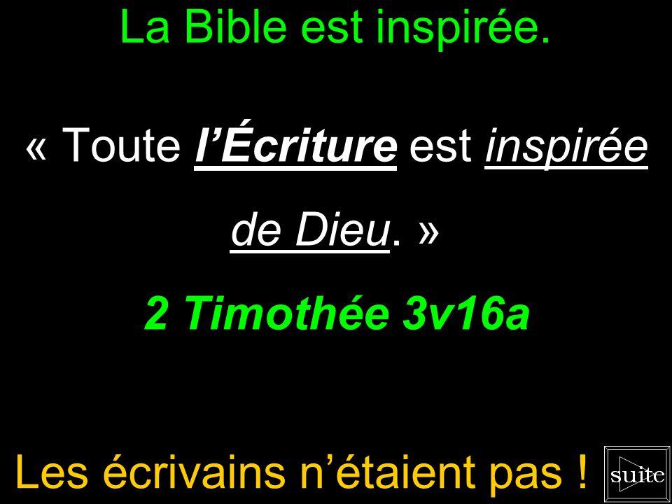 La Bible est inspirée.« Toute lÉcriture est inspirée de Dieu.