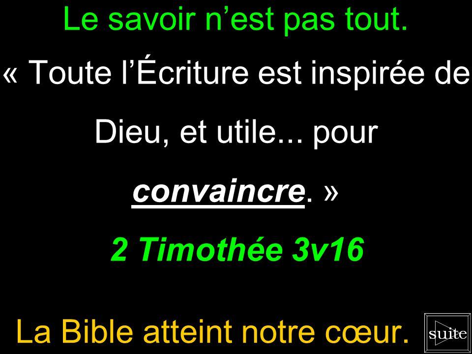 Le savoir nest pas tout.« Toute lÉcriture est inspirée de Dieu, et utile...