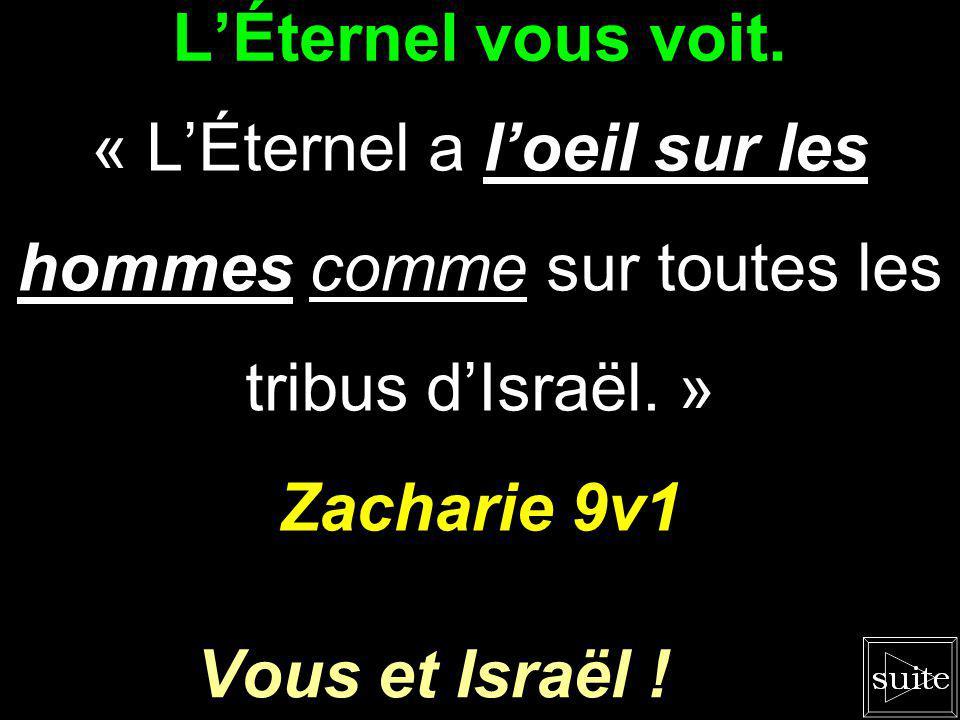 LÉternel sapproche. « Je les ramènerai, et ils habiteront au milieu de Jérusalem ; ils seront mon peuple, et je serai leur Dieu avec vérité et droitur