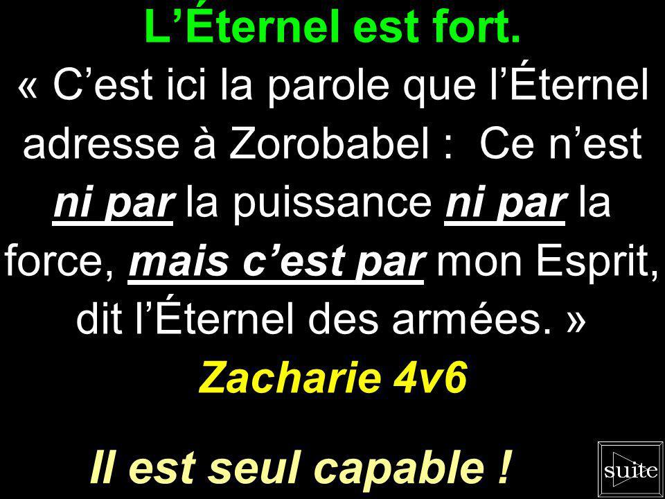 LÉternel est rapide. « Jenlèverai liniquité de ce pays, en un jour. » Zacharie 3v9 Le salut nest pas loin !