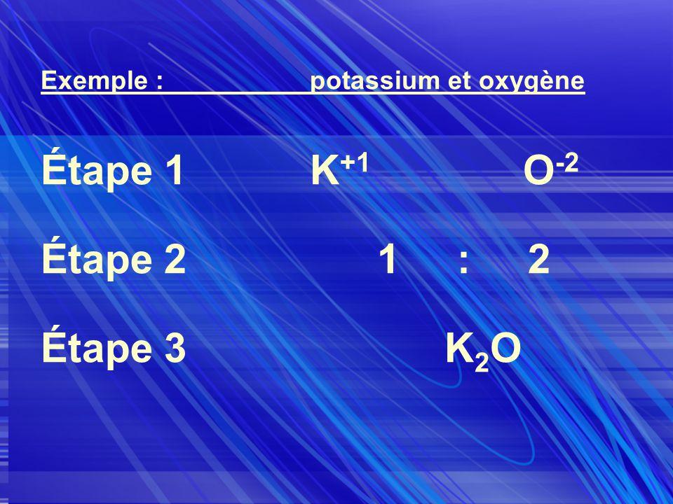 Exemple :potassium et oxygène Étape 1K +1 O -2 Étape 21 : 2 Étape 3K 2 O