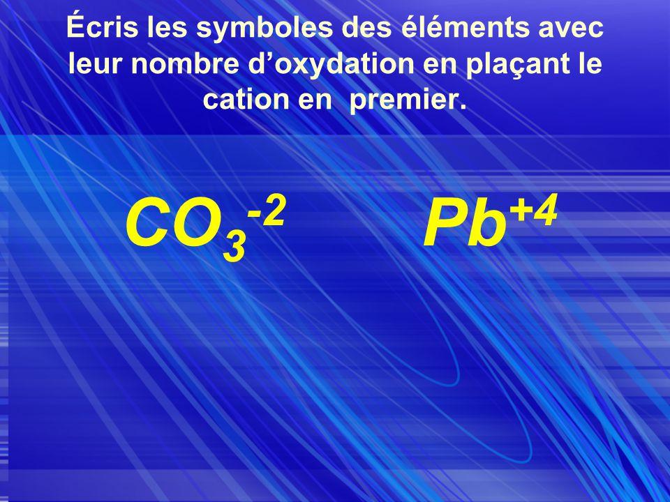 Écris les symboles des éléments avec leur nombre doxydation en plaçant le cation en premier.