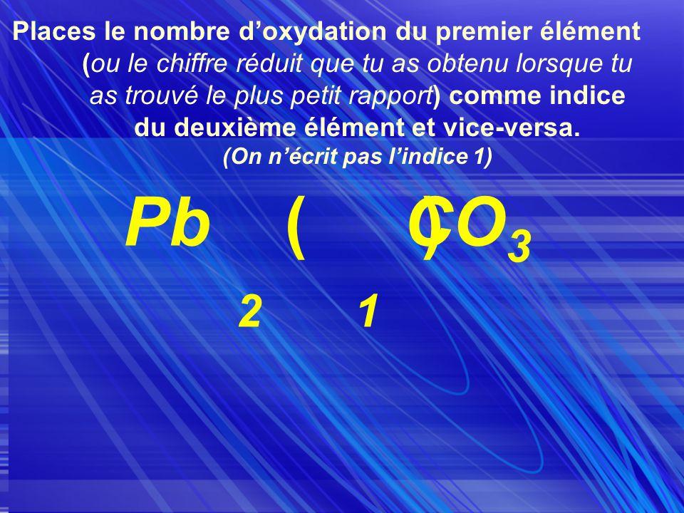 Places le nombre doxydation du premier élément (ou le chiffre réduit que tu as obtenu lorsque tu as trouvé le plus petit rapport) comme indice du deuxième élément et vice-versa.