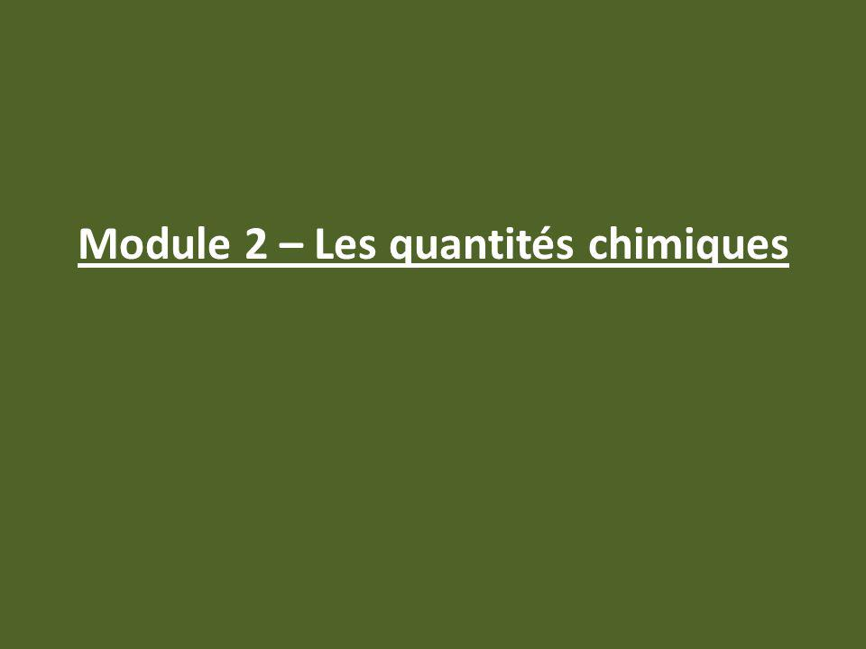 Module 2 – Les quantités chimiques