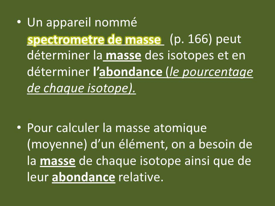Un appareil nommé ____________________ (p. 166) peut déterminer la masse des isotopes et en déterminer labondance (le pourcentage de chaque isotope).