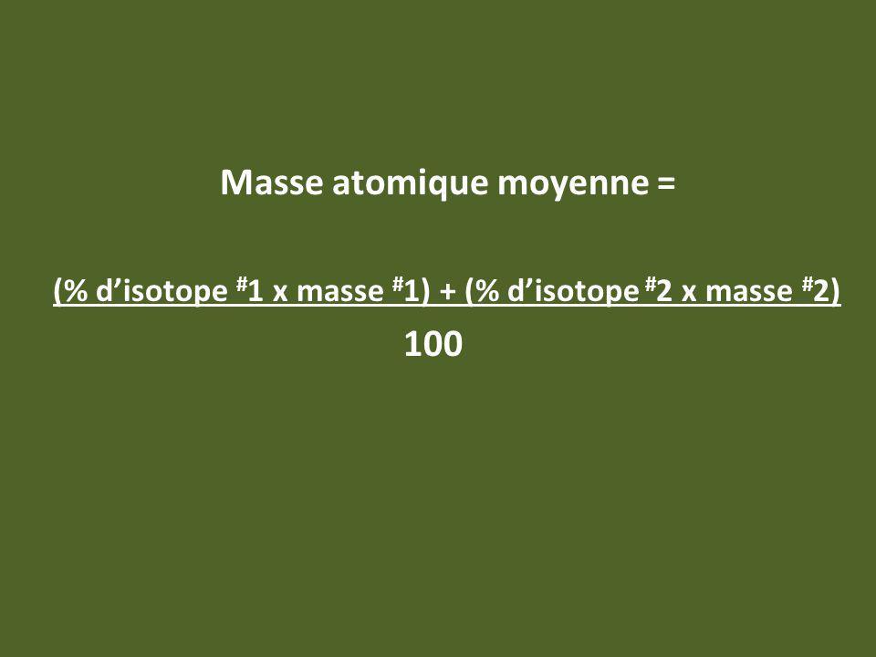 Masse atomique moyenne = (% disotope # 1 x masse # 1) + (% disotope # 2 x masse # 2) 100