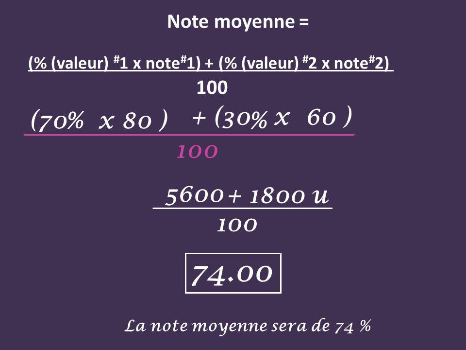 Note moyenne = (% (valeur) # 1 x note # 1) + (% (valeur) # 2 x note # 2) 100 + (30 x 60 ) + 1800 u % (70 x 80 ) 100 5600 100 74.00 La note moyenne sera de 74 %