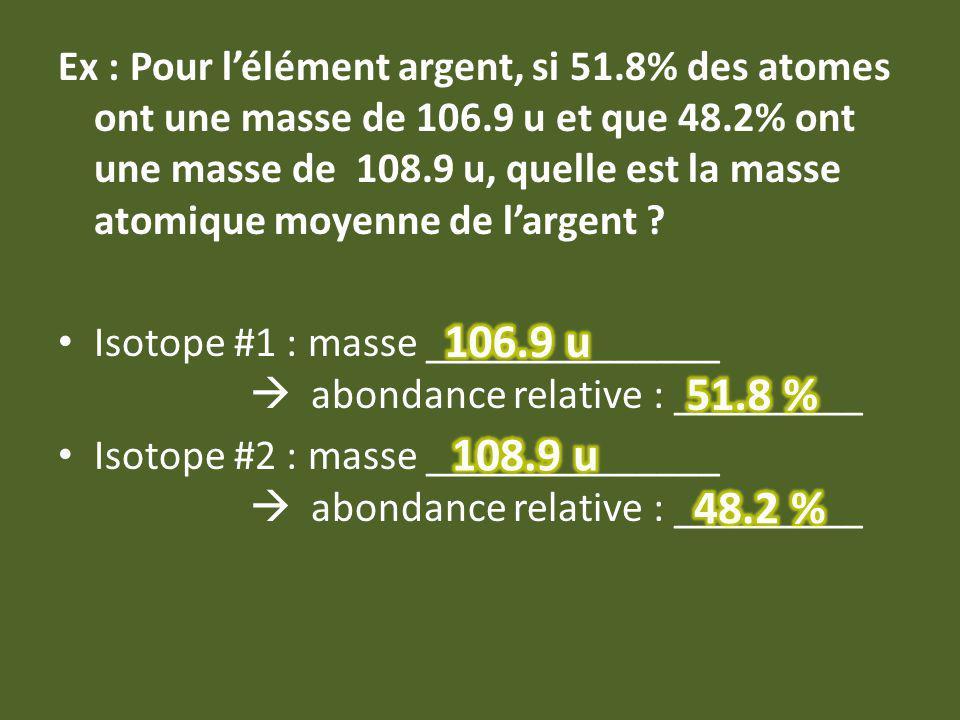 Ex : Pour lélément argent, si 51.8% des atomes ont une masse de 106.9 u et que 48.2% ont une masse de 108.9 u, quelle est la masse atomique moyenne de