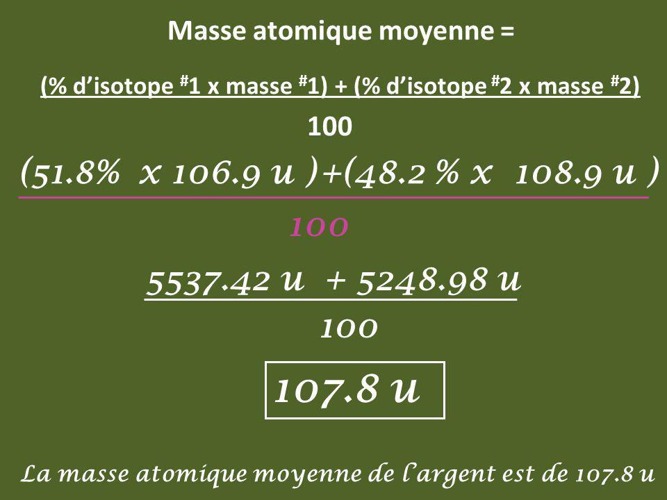 Masse atomique moyenne = (% disotope # 1 x masse # 1) + (% disotope # 2 x masse # 2) 100 +(48.2 x 108.9 u ) + 5248.98 u % (51.8 x 106.9 u ) 100 5537.4