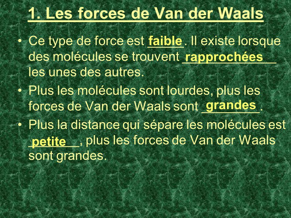 1. Les forces de Van der Waals Ce type de force est _____. Il existe lorsque des molécules se trouvent _____________ les unes des autres. Plus les mol