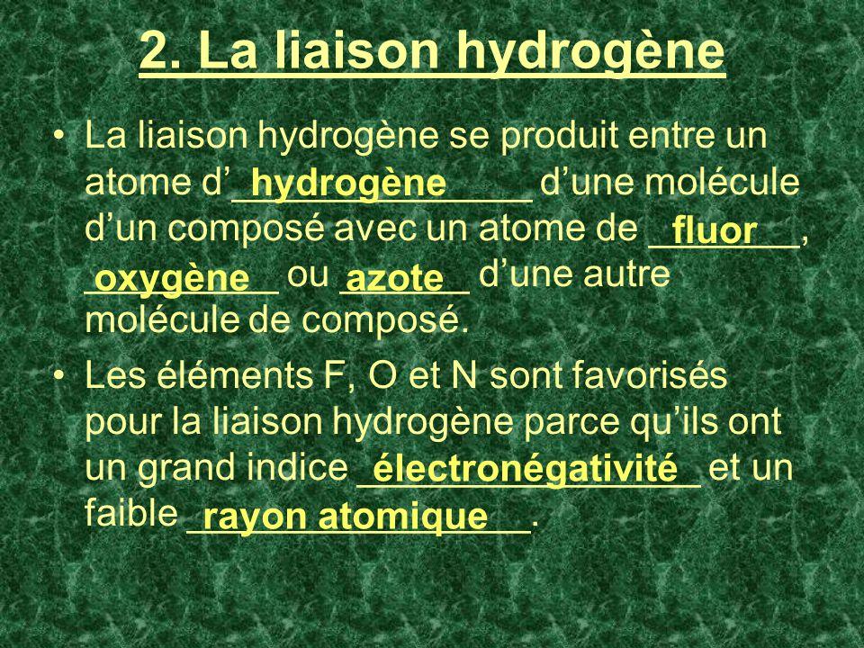 2. La liaison hydrogène La liaison hydrogène se produit entre un atome d______________ dune molécule dun composé avec un atome de _______, _________ o