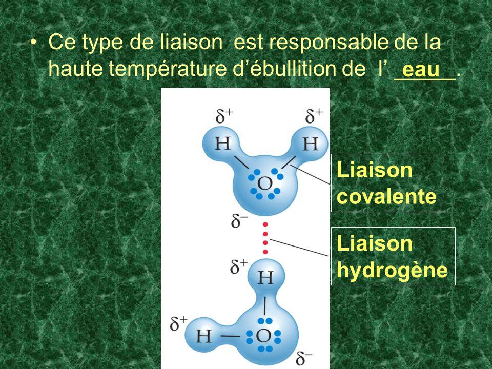Ce type de liaison est responsable de la haute température débullition de l _____. eau Liaison covalente Liaison hydrogène