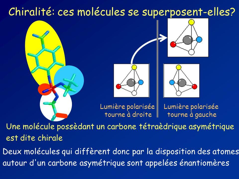 Deux molécules qui diffèrent donc par la disposition des atomes autour d un carbone asymétrique sont appelées énantiomères Chiralité: ces molécules se superposent-elles.