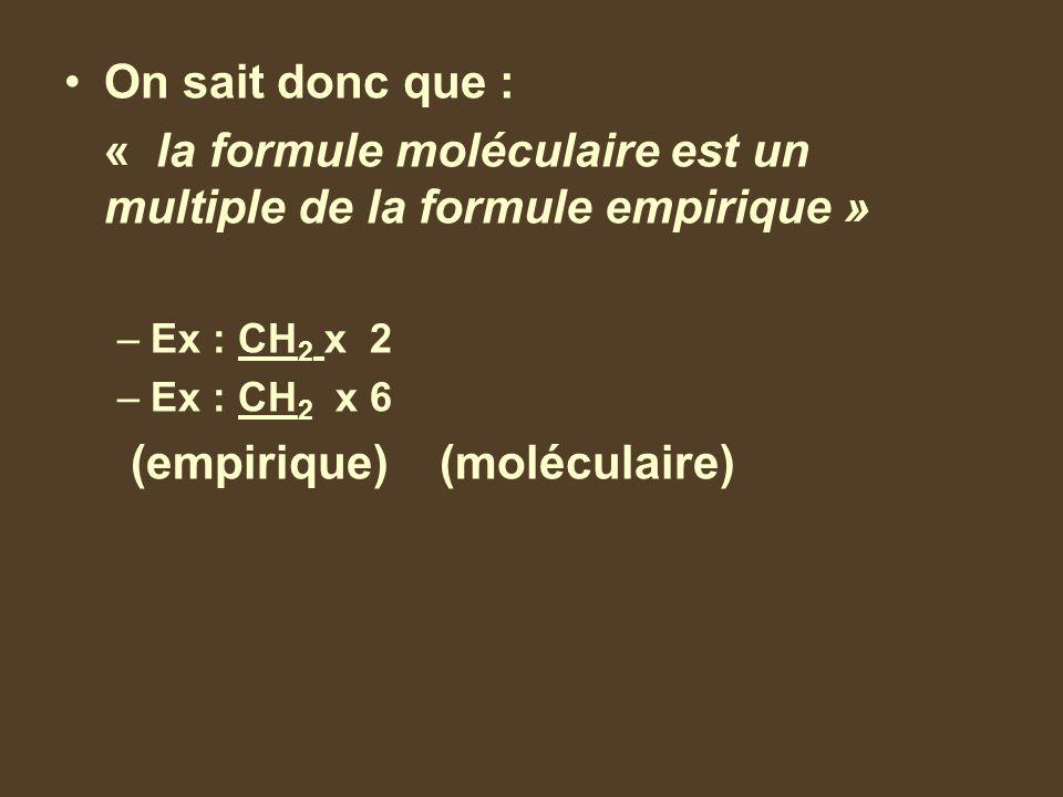 On sait donc que : « la formule moléculaire est un multiple de la formule empirique » –Ex : CH 2 x 2 = C 2 H 4 –Ex : CH 2 x 6 = C 6 H 12 (empirique) (