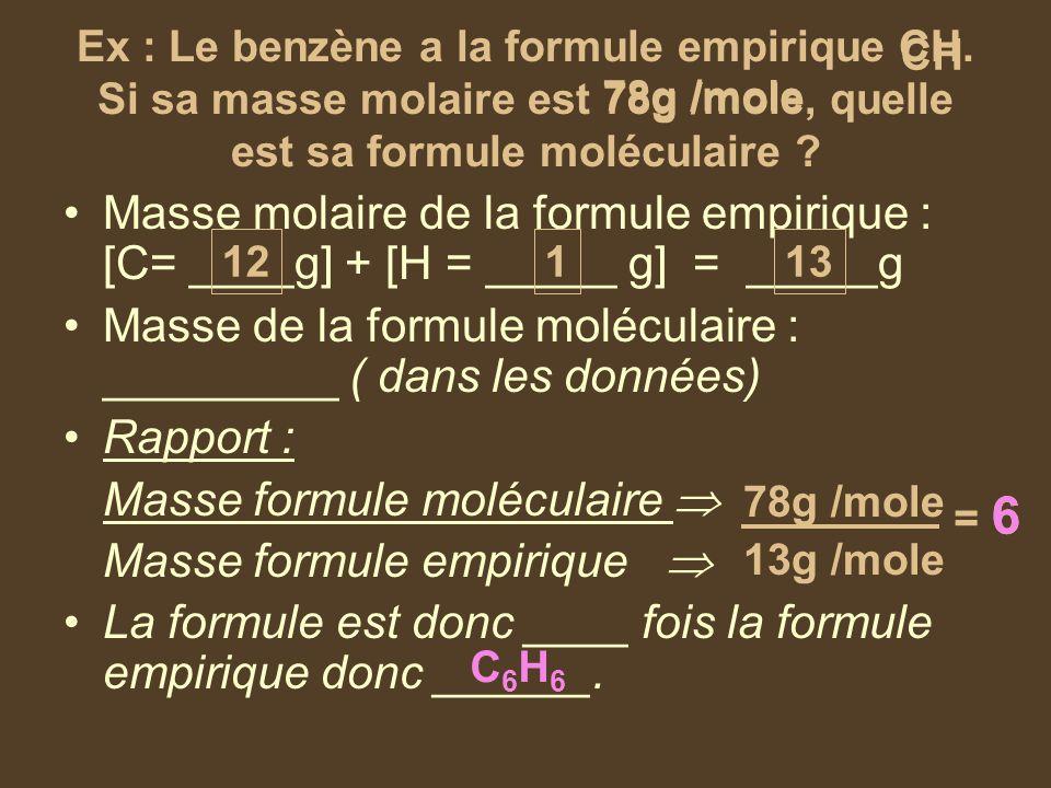 Ex : Le benzène a la formule empirique CH. Si sa masse molaire est 78g /mole, quelle est sa formule moléculaire ? Masse molaire de la formule empiriqu