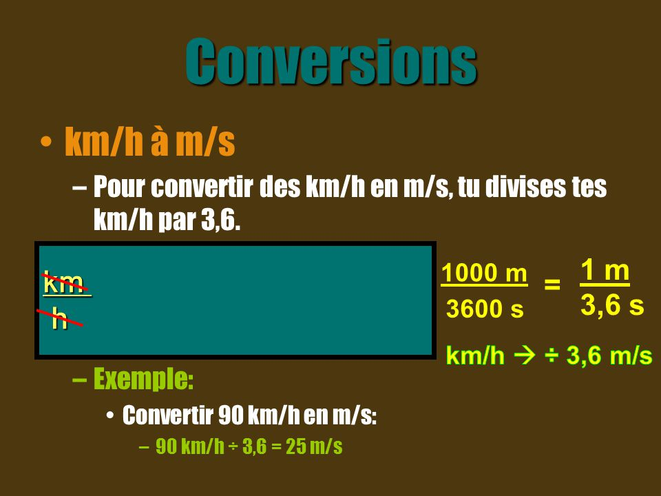 Conversions km/h à m/s –Pour convertir des km/h en m/s, tu divises tes km/h par 3,6. –Exemple: Convertir 90 km/h en m/s: –90 km/h ÷ 3,6 = 25 m/s km x