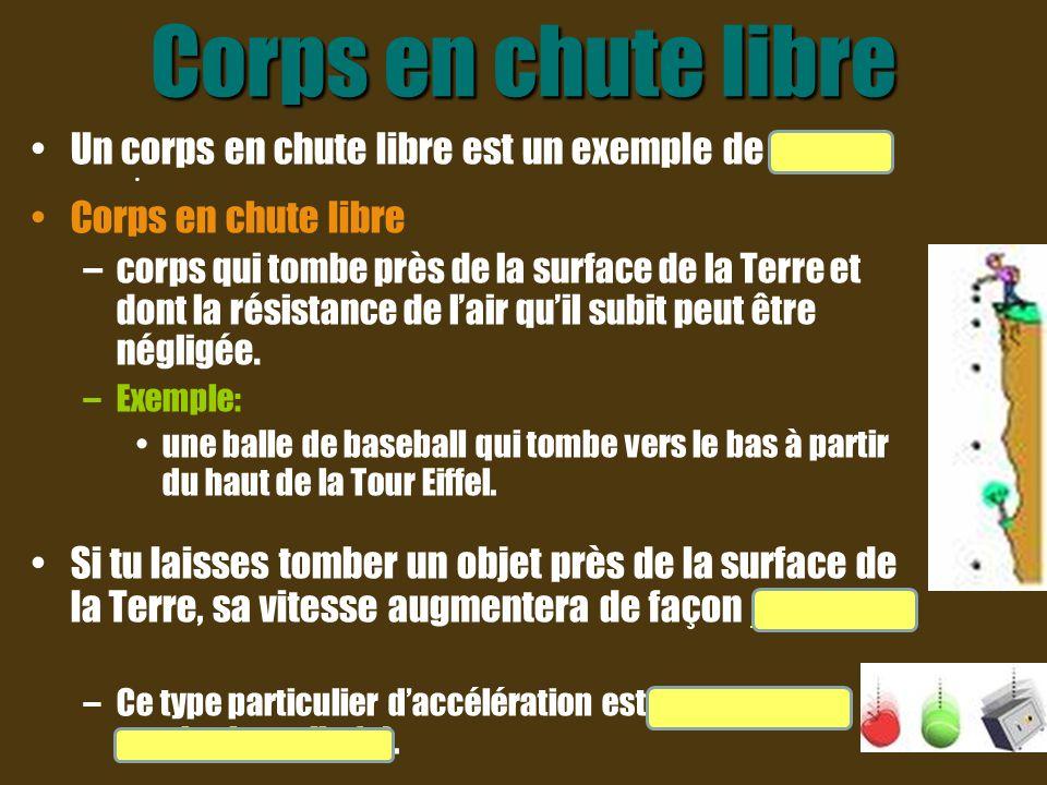 Corps en chute libre Un corps en chute libre est un exemple de M U A. Corps en chute libre –corps qui tombe près de la surface de la Terre et dont la