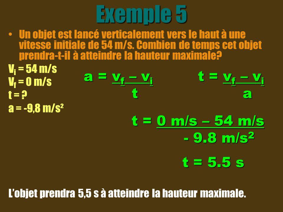 Exemple 5 Un objet est lancé verticalement vers le haut à une vitesse initiale de 54 m/s. Combien de temps cet objet prendra-t-il à atteindre la haute