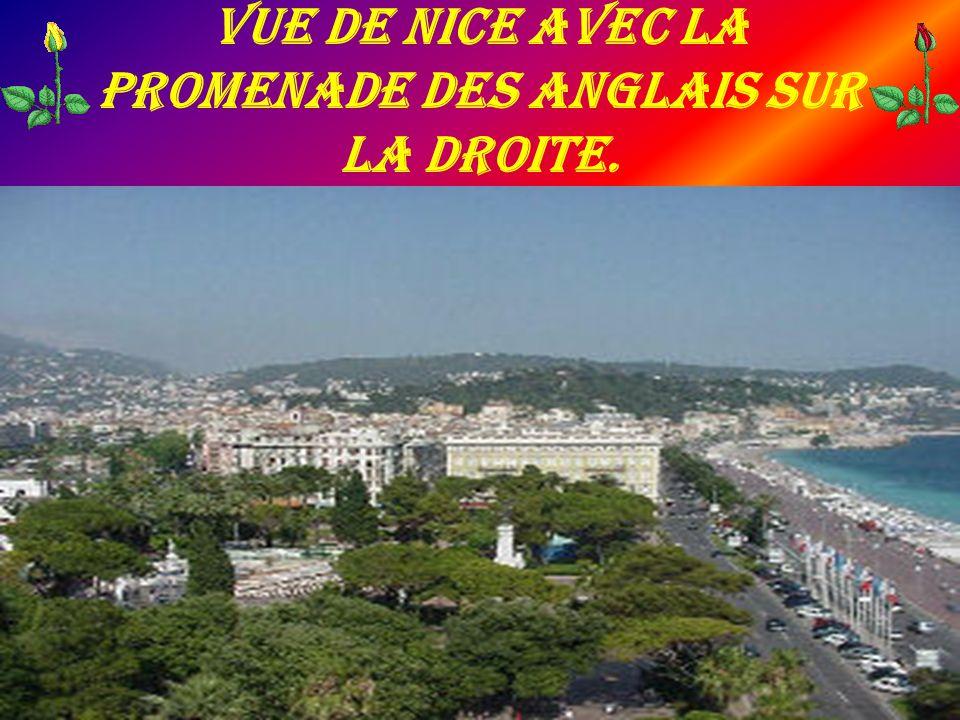 Vue de Nice avec la promenade des Anglais sur la droite.