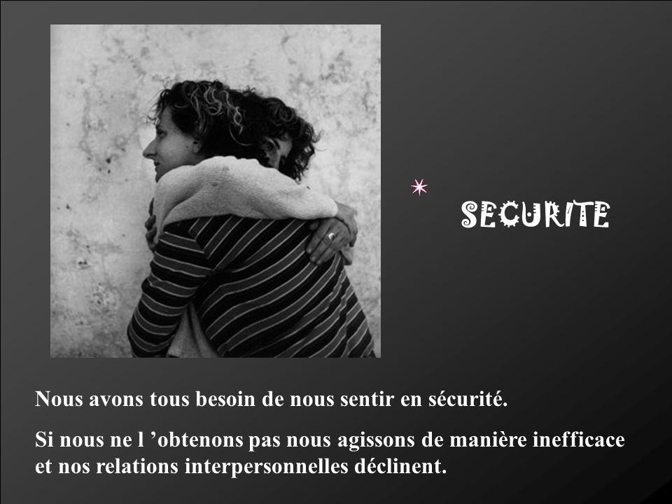 SECURITE Nous avons tous besoin de nous sentir en sécurité. Si nous ne l obtenons pas nous agissons de manière inefficace et nos relations interperson